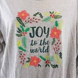 Holiday Editions Tops - Holiday Editions Long Gray Tshirt Joy To The World